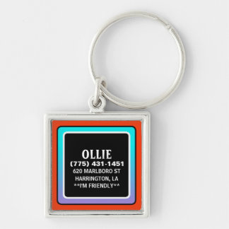Pet Dog ID Tag - Red Teal  & Black Square Keychain