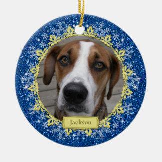 Pet Dog Memorial Blue Snowflake Photo Christmas Double-Sided Ceramic Round Christmas Ornament