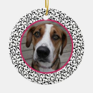 Pet Dog Memorial Chic Floral Photo Christmas Ceramic Ornament