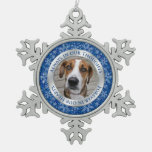 Pet Dog Memorial Photo Christmas Blue Silver Ornaments