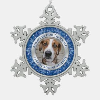 Pet Dog Memorial Photo Christmas Blue Silver Ornaments