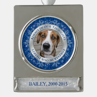 Pet Dog Memorial Photo Christmas Blue Silver Silver Plated Banner Ornament