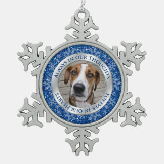 Pet Dog Memorial Photo Christmas Blue Silver Snowflake Pewter Christmas Ornament