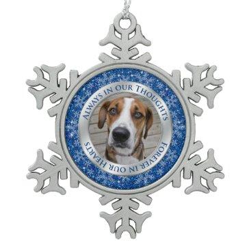 Christmas Themed Pet Dog Memorial Photo Christmas Blue Silver Snowflake Pewter Christmas Ornament