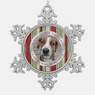 Pet Dog Memorial Photo Christmas Candy Cane Stripe Snowflake Pewter Christmas Ornament
