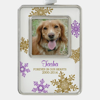 Pet Dog Memorial Photo Christmas Gold Purple Silver Plated Framed Ornament