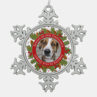 Pet Dog Memorial Photo Christmas Pine Boughs Holly Snowflake Pewter Christmas Ornament