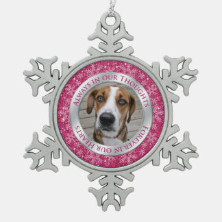Pet Dog Memorial Photo Christmas Pink Silver Snowflake Pewter Christmas Ornament