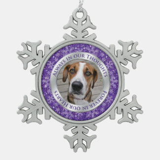 Pet Dog Memorial Photo Christmas Purple Silver Snowflake Pewter Christmas Ornament