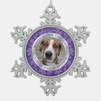 Pet Dog Memorial Photo Christmas Purple Silver Snowflake Pewter Christmas Ornament