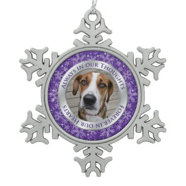 Christmas Themed Pet Dog Memorial Photo Christmas Purple Silver Snowflake Pewter Christmas Ornament