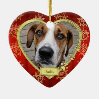 Pet Dog Memorial Photo Christmas Red Gold Heart Ceramic Ornament