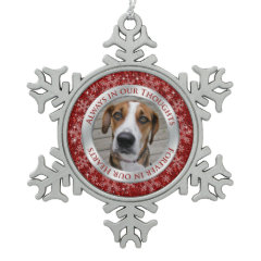 Pet Dog Memorial Photo Christmas Red Silver