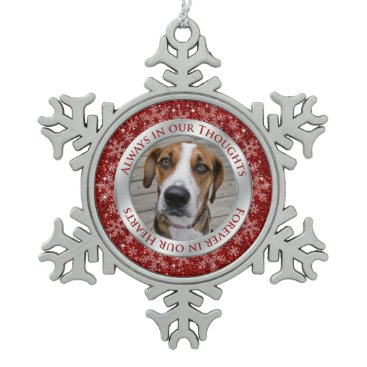 Christmas Themed Pet Dog Memorial Photo Christmas Red Silver Snowflake Pewter Christmas Ornament