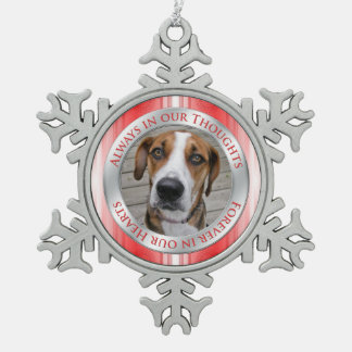 Pet Dog Memorial Photo Christmas Red Silver White Snowflake Pewter Christmas Ornament