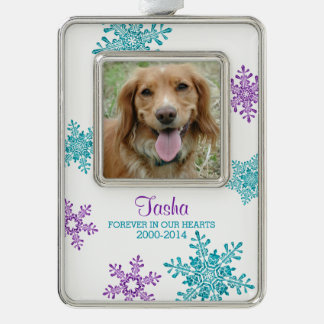 Pet Dog Memorial Photo Christmas Teal Purple Silver Plated Framed Ornament