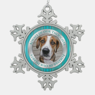 Pet Dog Memorial Photo Christmas Teal Silver Snowflake Pewter Christmas Ornament