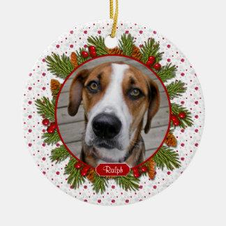Pet Dog Memorial Pine Boughs Holly Photo Christmas Ceramic Ornament
