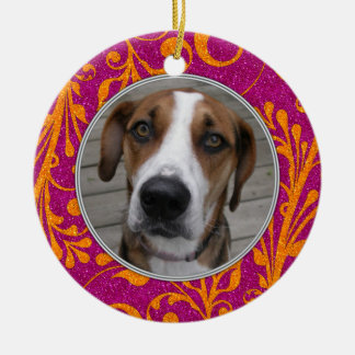 Pet Dog Memorial Pink Orange Photo Christmas Ceramic Ornament