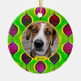 Pet Dog Memorial Purple Green Photo Christmas Ceramic Ornament