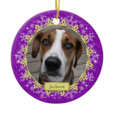 Christmas Themed Pet Dog Memorial Purple Snowflake Photo Christmas Ceramic Ornament