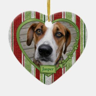 Pet Dog Memorial Stripes Photo Heart Christmas Ceramic Ornament