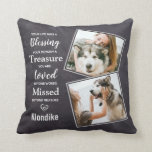 """Pet Dog Memorial Sympathy Pet Loss Photo Throw Pillow<br><div class=""""desc"""">Celebrate your best friend with a custom pet dog memorial pillow . This is the perfect gift for yourself, family or friends to honor those loved . We hope your unique photo pillow will bring you joy , peace , and happy memories . Quote """" Your life was a Blessing...</div>"""