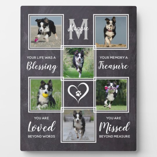 Pet Dog Memorials Keepsake Photo Collage Memorial Plaque