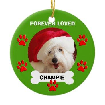 Christmas Themed Pet Dog Name and Photo Memorial Christmas Ornament