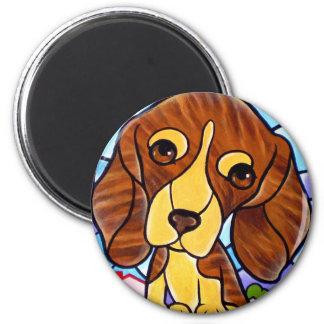 Pet Dog Painting Art - Multi 2 Inch Round Magnet