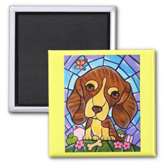Pet Dog Painting Art - Multi 2 Inch Square Magnet