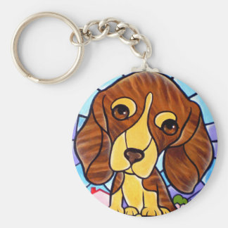 Pet Dog Painting Art - Multi Basic Round Button Keychain