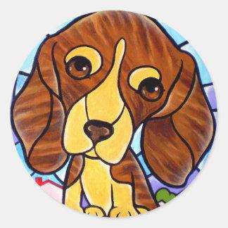 Pet Dog Painting Art - Multi Classic Round Sticker