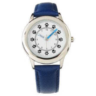 Pet dog paws blue cool kids wrist watch