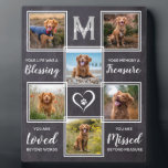 "Pet Dog Photo Collage - Pet Loss Sympathy Memorial Plaque<br><div class=""desc"">Celebrate your best friend with a custom pet memorial photo collage plaque . This unique memorial pet dog photo keepsake plaque is the perfect gift for yourself, family or friends to honor those loved . We hope your photo memorial plaque will bring you joy , peace , and happy memories...</div>"