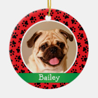 Pet Dog Photo Red Paw Prints Holiday Monogram Ceramic Ornament