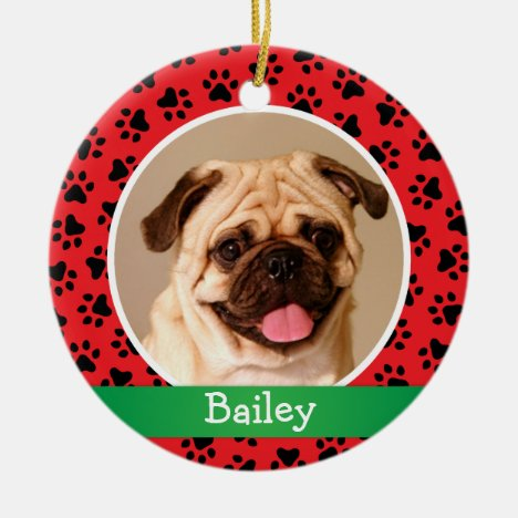 Pet Dog Photo Red Paw Prints Holiday Monogram Ceramic Ornament