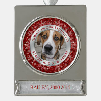 Pet Dot Memorial Photo Christmas Red Silver Silver Plated Banner Ornament