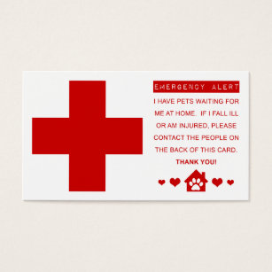 Ems business cards templates zazzle pet emergency alert business card colourmoves Image collections