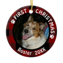 Pet FIRST CHRISTMAS 2-Sided 2-Photo Buffalo Check Ceramic Ornament