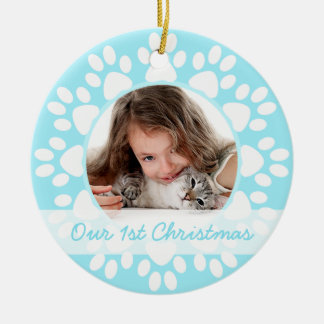 Pet first Christmas ornament Blue paws