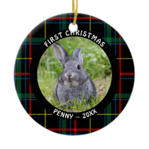 Pet FIRST CHRISTMAS Photo Plaid Personalized Ceramic Ornament