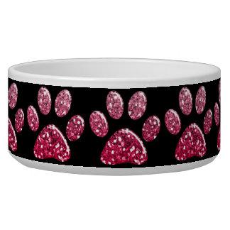 Pet Food Bowl - Dk Pinks Bling Paw Prints