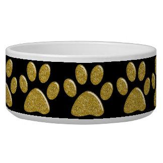 Pet Food Bowl - Gold Bling Paw Prints