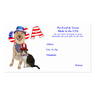 Pet Food Made in the USA template business card