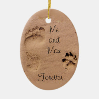 Pet & Footprint in the Sand Ceramic Ornament