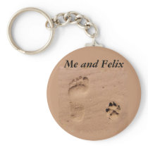 Pet & Footprint in the Sand Keychain