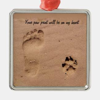 Pet & Footprint in the Sand Metal Ornament