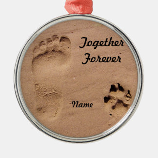 Pet & Footprint in the Sand Metal Ornament