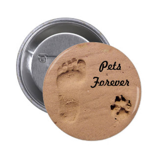 Pet & Footprint in the Sand Pinback Button